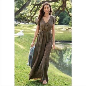 Soft Surroundings Pleated Wrap Maxi Dress Brown M
